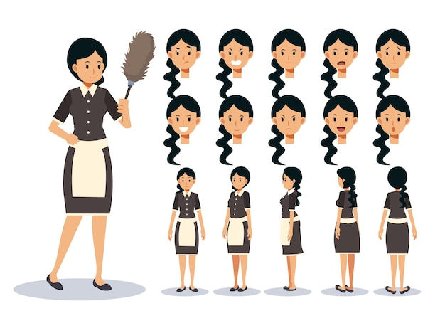 Conjunto de ilustración de mujer es una criada, en varias acciones. expresión de emoción. personaje animado de vista frontal, lateral y posterior.