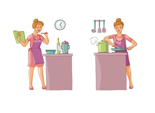 Conjunto de ilustración de mujeres preparando la comida en la cocina. el personaje sostiene un libro de cocina con recetas y prepara comida.