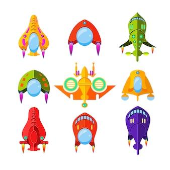 Conjunto de ilustración de naves espaciales y cohetes coloridos