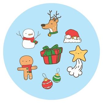 Conjunto de ilustración de navidad de dibujos animados.