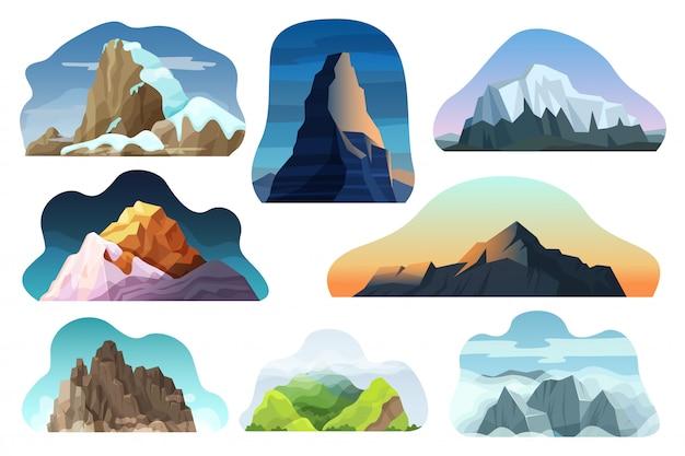 Conjunto de ilustración de paisaje de colina de montaña, roca diferente de naturaleza diferente de dibujos animados, pico con iconos de nubes aislado en blanco