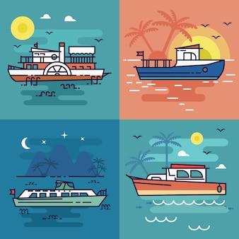 Conjunto de ilustración de paisaje de mar