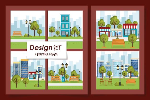 Conjunto de ilustración de paisaje del parque de escenas