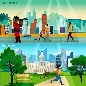 Conjunto de ilustración de paisajes urbanos americanos