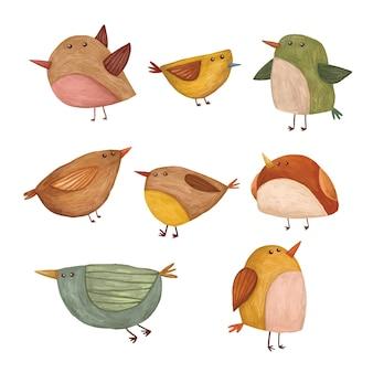 Conjunto de ilustración de pájaro colorido lindo