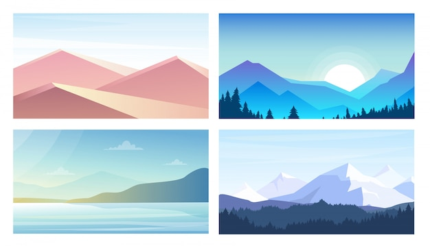 Conjunto de ilustración de pancartas con paisajes, vistas a las montañas, desierto, playa en estilo plano y colores pastel.