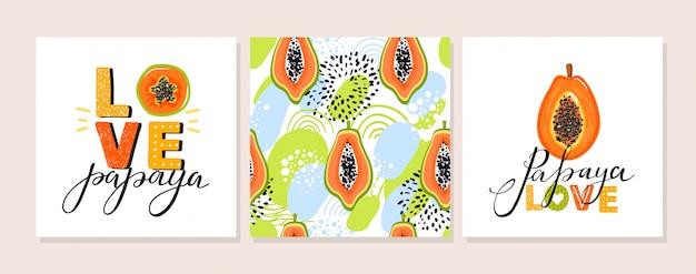 Conjunto de ilustración de papaya.