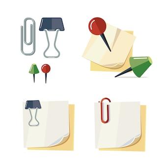 Conjunto de ilustración de papelería de dibujos animados