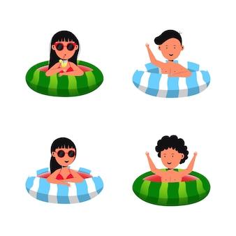Conjunto de ilustración de paquete de niños de playa