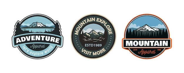 Conjunto de ilustración de parche de emblema de insignia de logotipo de montaña de aventura