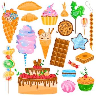 Conjunto de ilustración de pastelería de postre dulce, pastel de colección de dibujos animados con crema de chocolate o cupcake, galleta al horno, macarrones