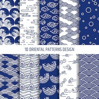 Conjunto de ilustración de patrones orientales. editable.