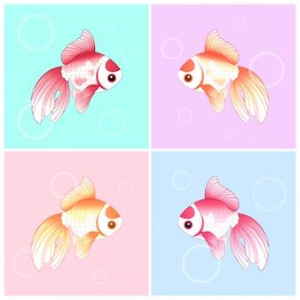 Conjunto de ilustración de peces de oro