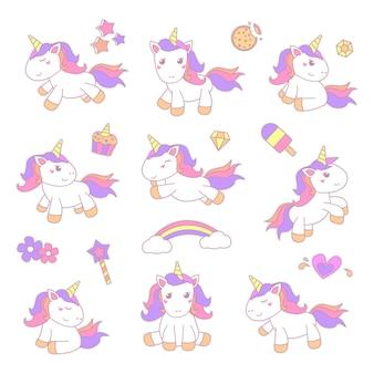 Conjunto de ilustración de pegatina pequeño unicornio