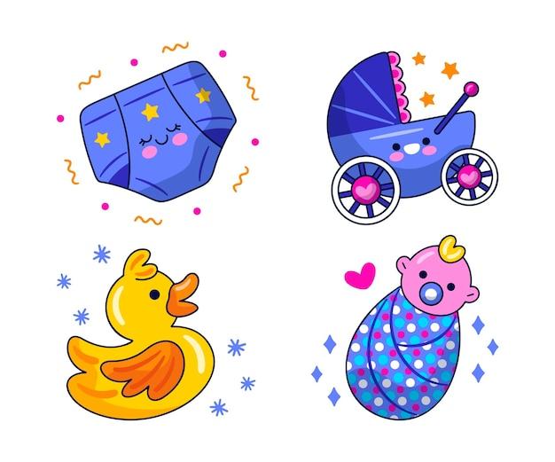 Conjunto de ilustración de pegatinas de baby shower