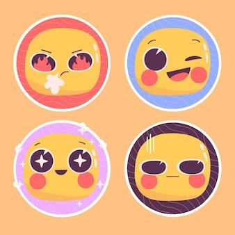 Conjunto de ilustración de pegatinas de emoticonos ingenuos