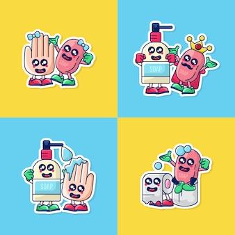 Conjunto de ilustración de pegatinas de icono de saneamiento de manos