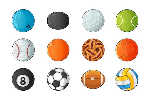 Conjunto de ilustración de pelota deportiva
