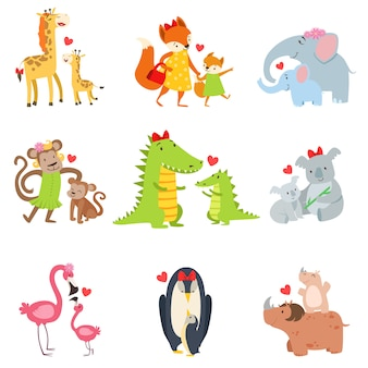 Conjunto de ilustración de pequeños animales y sus mamás
