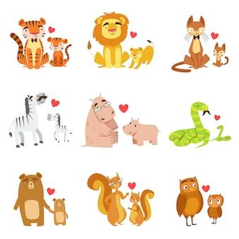 Conjunto de ilustración de pequeños animales y sus papás