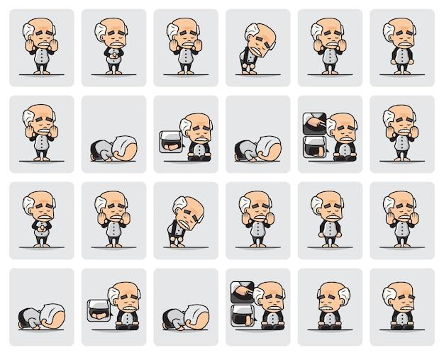 Conjunto de ilustración del personaje del abuelo musulmán está rezando o salat con paso a paso.