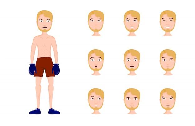 Conjunto de ilustración de personaje de boxeador