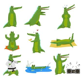 Conjunto de ilustración de personaje de dibujos animados de cocodrilo divertido