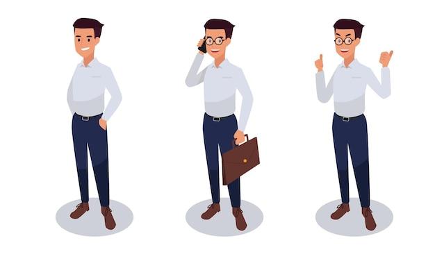 Conjunto de ilustración de personaje de empresario