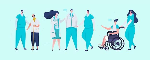 Conjunto de ilustración de personaje de equipo médico