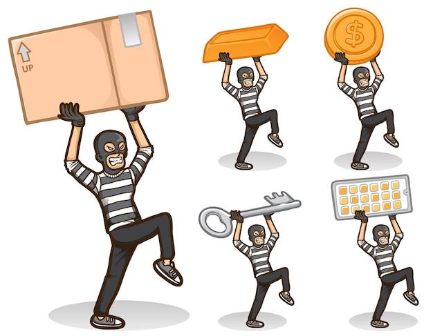 Conjunto de ilustración de personaje de ladrón