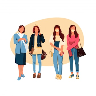 Conjunto de ilustración de personaje de moda de grupo de chicas, concepto de diseño plano