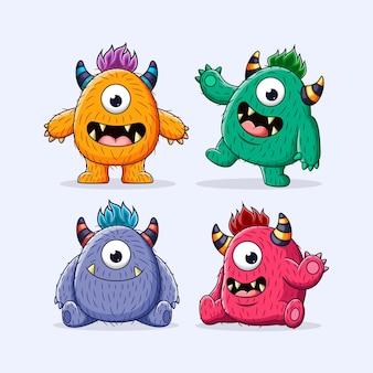 Conjunto de ilustración de personaje de monstruos lindos