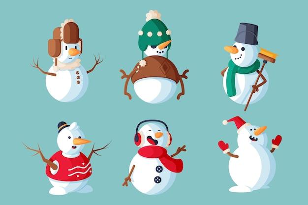 Conjunto de ilustración de personaje de muñeco de nieve de diseño plano