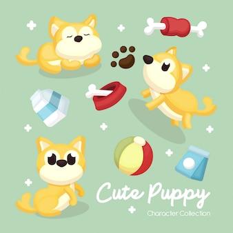 Conjunto de ilustración de personaje de perro y accesorios