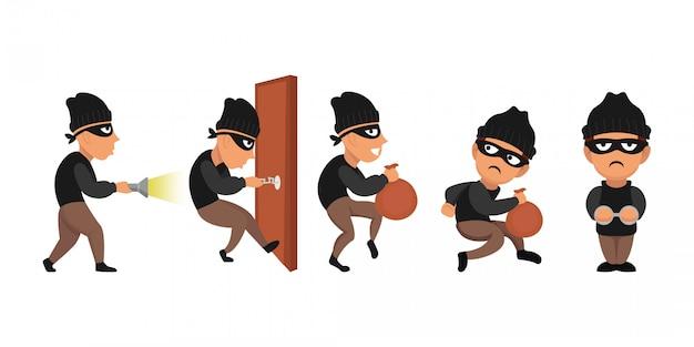 Conjunto de ilustración de personaje de robo de ladrón