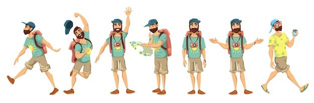 Conjunto de ilustración de personaje turístico
