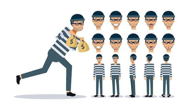 Conjunto de ilustración de personaje de vector plano, un hombre es un ladrón, varias vistas, estilo de dibujos animados.