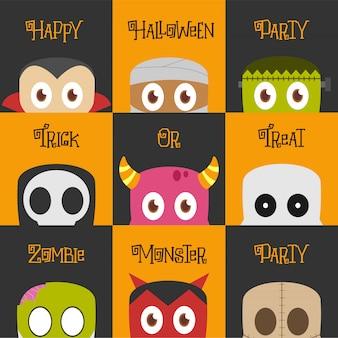 Conjunto de ilustración de personajes de halloween