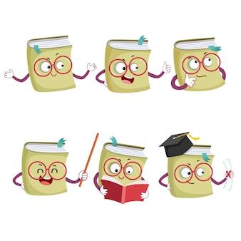 Conjunto de ilustración de personajes de mascota de libro de dibujos animados feliz en diferentes poses y emociones