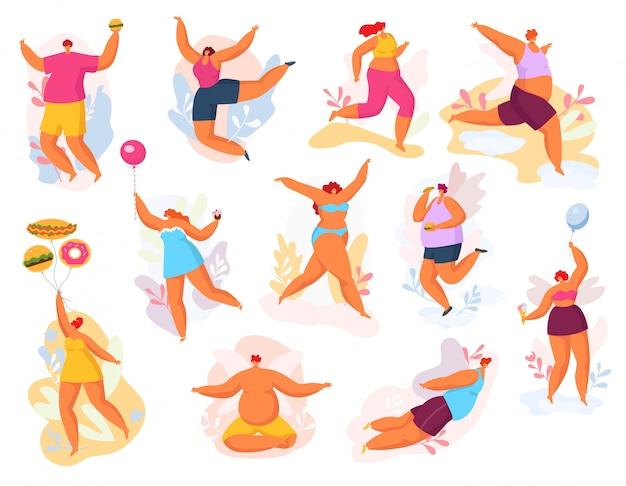 Conjunto de ilustración de personas bailando feliz de talla grande, hombre gordo mujer en danza, concepto positivo del cuerpo