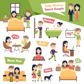 Conjunto de ilustración de personas diarias