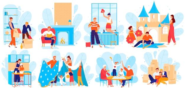 Conjunto de ilustración de personas de la familia en el hogar, personajes de dibujos animados padre, madre e hijos pasan tiempo juntos en blanco