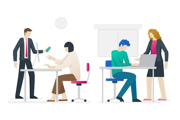 Conjunto de ilustración de personas de negocios