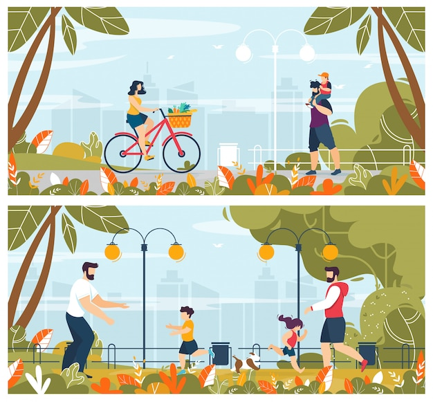 Conjunto de ilustración de personas con niños al aire libre