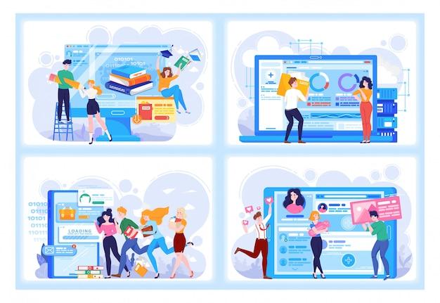 Conjunto de ilustración de personas de tecnología digital en negocios y relaciones virtuales, citas en línea, aprendizaje y redes sociales.