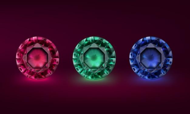 Conjunto de ilustración de piedras preciosas de diferentes colores.