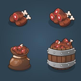 Conjunto de ilustración de pilas de recompensa de alimentos de recursos de juego