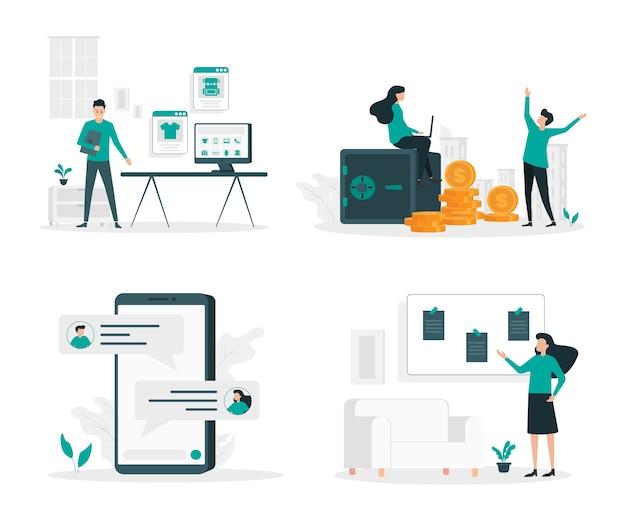 Conjunto de ilustración plana de comercio electrónico y finanzas.