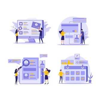 Conjunto de ilustración plana de comercio electrónico y marketing.