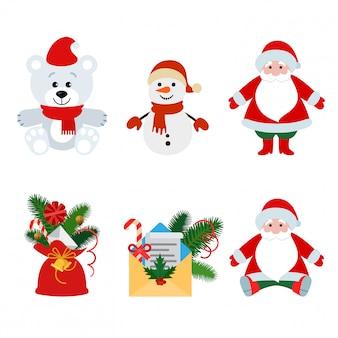 Conjunto de ilustración plana de decoraciones y juguetes de navidad